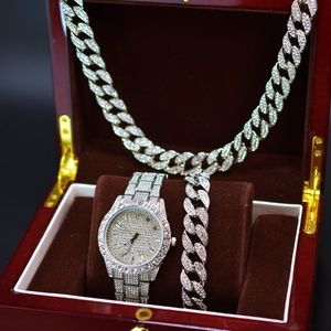 """Other - Full Iced Out Watch, 20"""" Necklace and Bracelet Set"""